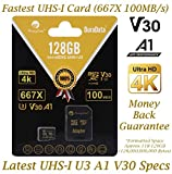 Amplim 128GB Micro SD SDXC V30 A1 Memory Card Plus Adapter Pack (Class 10 U3 UHS-I MicroSD XC Extreme Pro) 128 GB Ultra High Speed 667X 100MB/s UHS-1 TF MicroSDXC 4K Flash - Cell Phone, Drone, Camera
