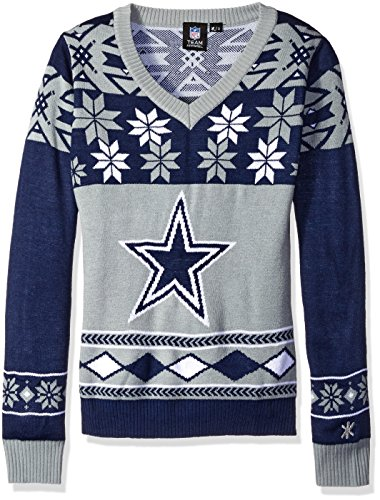 low priced db772 5d04c NFL Women's V-Neck Sweater, Dallas Cowboys, X-Large - Ugly ...