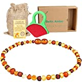 Raw Baltic Amber Teething Necklaces For Babies - Anti Flammatory, Drooling & Teething Pain Reduce Properties - Multicolor UNPOLISHED Amber Necklace with Free Teething Toys For Boys and Girls