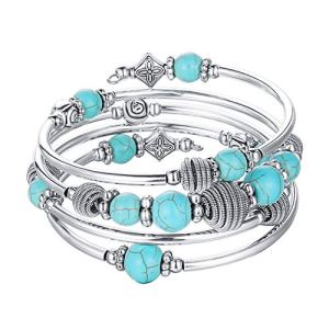 Beaded Chakra Bangle Turquoise Bracelet – Fashion Jewelry Wrap Bracelet with Thick Silver Metal and Mala Beads, Birthday Gifts For Women