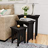 Home 80-FNT-3 Lavish Nesting Set of 3, Traditional with Mission Style Legs for Living Room Coffee Tables or Nightstands Accent Furniture (Black)