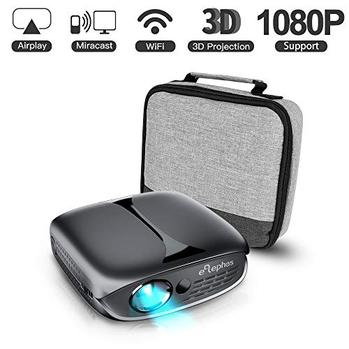 Mini Projector, ELEPHAS 2600 Lumen Wi-Fi Portable Pico Home Theater Projector Compatible with iPhone and Android Smartphone, Supports 3D/1080P/HDMI/USB/AV