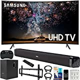 Samsung 65-inch RU7300 HDR 4K UHD Smart Curved LED TV (2019) Bundle with Deco Gear Soundbar with Subwoofer, Wall Mount Kit, Deco Gear Wireless Keyboard, Cleaning Kit and 6-Outlet Surge Adapter