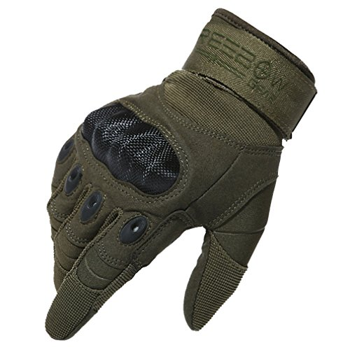 Reebow Gear Military Hard Knuckle Tactical Gloves Full Finger for Army Gear Outdoor Sport Work Shooting Airsoft Paintball Hunting Riding Motorcycle Army Green M
