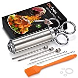 Dicfeos Meat Injector, Stainless Steel Marinade Injector Syringe for BBQ Grill and Turkey, 2 Ounce Syringe with 3 Needles, Easy to Use and Clean