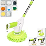 Avesfer Floor Scrubber Electric Spin Scrubber Cordless Floor Cleaner Household Rolling Spin Mop Cleaning Brush Mop Floor Polish Waxing with Extension Handle 8 Replaceable Heads for Bathroom Kitchen