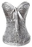 Alivila.Y Fashion Womens Vintage Lace Boned Renaissance Corset 2001-Grey-M