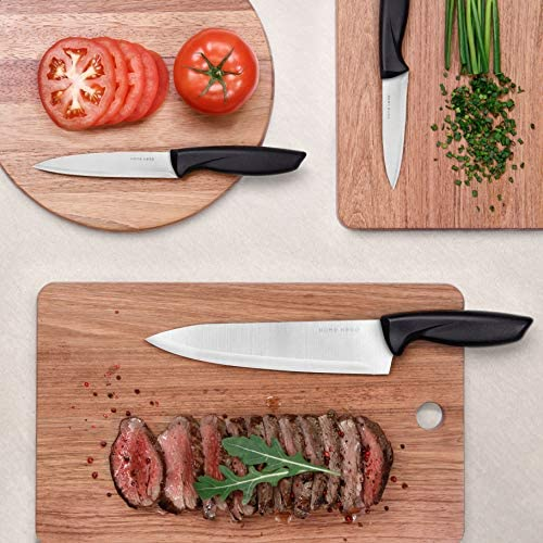 Home Hero 17 Pieces Kitchen Knives Set, 13 Stainless Steel Knives + Acrylic Stand, Scissors, Peeler and Knife Sharpener ( Stainless Steel Blades ) 16