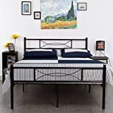Product review for Simlife Metal Bed Frame Full Size 10 Legs Two Headboards Mattress Foundation Steel Double Platform Bed No Box Spring Needed Black