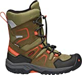 KEEN - Kid's Levo Waterproof, Insulated Snow Boots for Winter, Black Olive/Pureed Pumpkin, 1 M US Little Kid