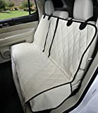 4Knines Dog Seat Cover with Hammock for Fold Down Rear Bench SEAT 60/40 Split and Middle seat Belt Capable - Tan Extra Large - for Full Size Trucks and Large SUVs - USA Based Company
