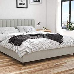 Novogratz Brittany Upholstered Bed, Queen, Gray