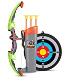 Liberty Imports Light Up Archery Bow and Arrow Toy Set for Kids with 3 Suction Cup Arrows, Target, and Quiver (Green)