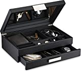 Glenor Co Mens Valet/Dresser Organizer - Luxury 12 Slot Jewelry Accessories Box, Carbon Fiber Design, Drawer Tray, Metal Buckle & Large Mirror for Men's Watches, Sunglasses, Wallet... Pu Leather Black