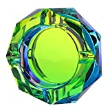 Kufox Crystal Outdoors Indoors Cigarette Ashtray Ash Holder Case, Colorful Pattern Home Office Tabletop Beautiful Decoration Craft (Bling Bling 03)