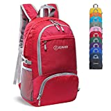 ZOMAKE 30L Lightweight Packable Backpack Water Resistant Hiking Daypack,Small Travel Backpack Foldable Camping Outdoor Bag Red