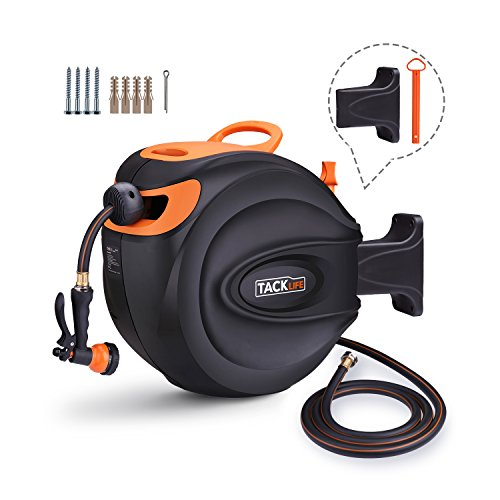 TACKLIFE Hose Reel, 65+7 FT Wall Mounted Retractable Garden Hose Reel/Include 8 Patterns Hose Nozzle/Brass Connector/Any Length Lock/Auto Rewind/180 Degree Pivot/for Garden Watering, Car Washing