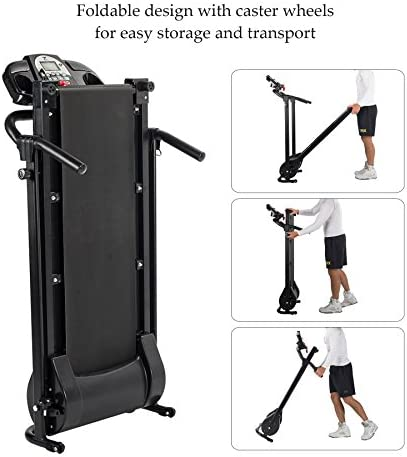 ZELUS Folding Treadmill for Home Gym, Portable Wheels, 750W Electric Foldable Running Cardio Machine with Cup Holder, Sports App Walking/Runners Exercise Equipment 7