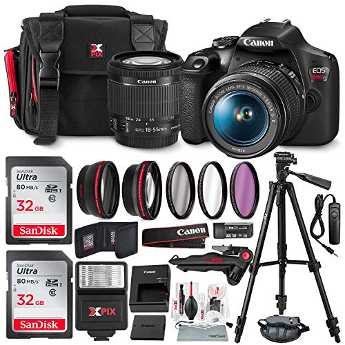 Canon-T7-EOS-Rebel-DSLR-Camera-with-EF-S-18-55mm-f35-56-is-II-Lens-WTelephoto-Wideangle-Lens-3-Pc-Filter-Kit-Tripod-Flash-2-X-32GB-SD-Card-and-Basic-Accessory-Kit