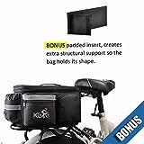 UPGRADE OCT '18: Bike Pannier Bag | Durable & Waterproof Nylon With Extra Padded Foam Bottom & 3 Side Reflectors | Shoulder Strap Rack Rear Trunk Tote Bag | Strong Velcro, Zipper Pockets & Bottle Case