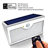 Motion Sensor Light Outdoor, 60 Led Solar, 5 Modes Remote Control,1300LM Waterproof Wide Angle, Wireless Super Bright Security Wall Lights for Driveway, Wall, Patio, Yard, Garden(White)
