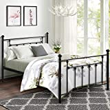VECELO Queen Size Bed Frame, Metal Platform Mattress Foundation/Box Spring Replacement with Headboard Victorian Style