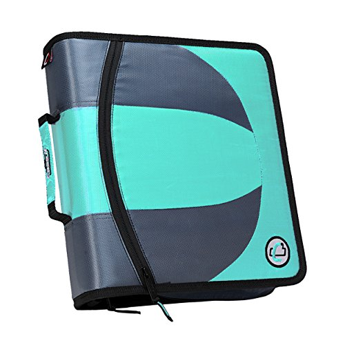 Case-it Dual 2-in-1 Zipper D-Ring Binder, 2 Sets of 1.5-Inch Rings with Pencil Pouch, Mint, DUAL-101-MNT