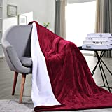 MaxKare Electric Heated Throw Blanket Auto Shut Off Fast-Heating Sherpa Blanket Full Body Warming Reversible Soft Plush Three Heat-Level Setting 50' x 60'