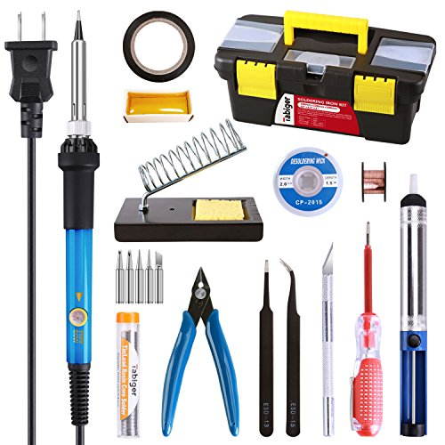 Soldering Iron Kit Electronics, 20-in-1, 60W Adjustable Temperature Soldering Iron, 5pcs Soldering Iron Tips, Solder, Rosin, Solder Wick, Stand and Other Soldering Kits in Portable Toolbox