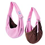 Grtdrm Pet Sling Carrier Bag Travel Tote for Cats Dogs, Up to 16 lbs (Pink)