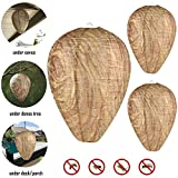 FOONEE 3 Pack Natural Wasp Deterrent, Wasp Repellent Eco Friendly Paper Wasp Nest Decoys, Hanging Wasp Nest for Wasps Hornets Yellowjackets