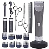Maxshop Professional Hair Clippers for Men and Babies Quiet Barber Clippers Cordless Haircut kit with 2 Scissors 1 Hair Comb Charging Dock Home Barber kit (Gray)