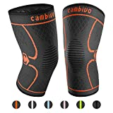 CAMBIVO 2 Pack Knee Brace, Knee Compression Sleeve Support for Running, Arthritis, ACL, Meniscus Tear, Sports, Joint Pain Relief and Injury Recovery (XL, Orange)