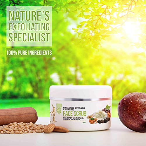 51D47iUCb7L - Green & Brown 7in1facescrub Exfoliating and Moisturizing with Sandalwood, Passion Fruit, Grapefruit, Shea Butter, Jojoba Oil and Almond Oil For Men and Women, White, 200 ml
