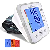 Large Cuff Easy@Home Digital Upper Arm Blood Pressure Monitor (BP Monitor), 3-Color Hypertension Backlit Display and Pulse Meter-FDA Cleared for OTC, IHB Indicator, 2 User Mode, FSA Eligible EHE095L