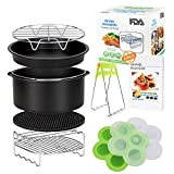 Air Fryer Accessories with Recipe Cookbook for Growise Phillips Cozyna Fit all Air Fryer 3.7QT - 5.3QT Deep Fryer Accessories Set of 8