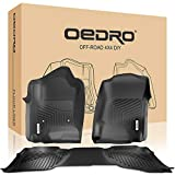 oEdRo Floor Mats Compatible for 2014-2018 Silverado/Sierra 1500 Extend/Double Cab, 2015-2018 2500/3500 HD, Front and Rear Liners