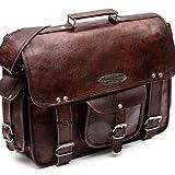 Handmade World Leather Messenger Bags for Men Women 18' Mens Briefcase Laptop Bag Best Computer Shoulder Satchel School Distressed Bag (13' X 18')