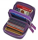 Women's Genuine Leather RFID Secured Spacious Cute Zipper Card Wallet Small Purse (Purple)