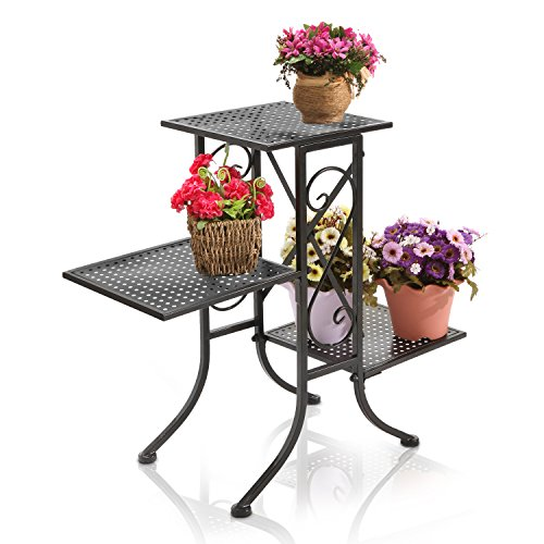 Black Metal Scrollwork Design 3-Tier Plant Stand, Planter Pot Display Shelf Rack with Perforated Shelves