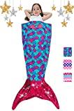 Mermaid Tail Blanket for Girls Flannel Soft All Season Sleeping Blankets Bag Bedroom Warm Comforter Mermaid Birthday Halloween for Toddler Kids 3-14Y