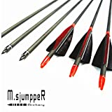 MS Jumpper Archery Carbon Arrows, High Percentage Carbon-Fiber Arrow Spine 400 with 4' Real Feathers 100 Grain Points for Hunting/Targeting Compound/Recurve/Long Bow 6Pack (29inch)