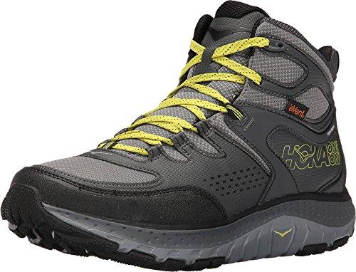 HOKA ONE ONE Men's Tor Tech Mid Waterproof Hiking Shoe,Grey/Acid,US 10.5 M