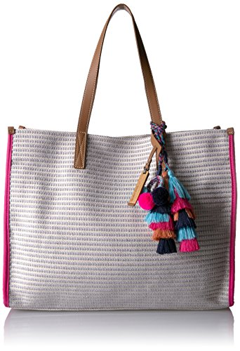 51DAtX2XYdL Textured tote bag with contrast side panels, side seam piping, and top handles Pockets: 2 interior slip, 1 interior zip
