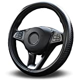 Vitodeco Odorless Luxury Genuine Leather Steering Wheel Cover, Dragon Scales Design, Excellent Grip, Nontoxic, Standard Size 14.5