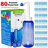 TONELIFE Nasal Rinse Kit 300ml +80 Saline Packets - Neti Pot Kit with 80 Count Buffered Salt Packets,Nose Cleaner with Saline Nasal Care Refills for Sinus Rinse