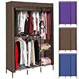 Korie Clothes Closet Portable Wardrobe Closet Organizer Storage Double Rod Closet (US Stock) (Chocolate)