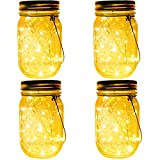 4-Pack 30 LEDs Solar Powered Mason Jar Lights, Watrproof Outdoor Hanging Led Fairy Firefly String Lights Lanterns (Jars & Hangers Included),Best Patio Wedding Party Deck Garden Decor