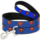 Buckle Down Dog Leash Superman Shield Blue 6 Feet Long 1.0 Inch Wide