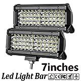 LED Light Bar,7 Inch 2PCS LED Flood Light Pods Work Light Bar LED Pod Lights Spot Beam Driving Fog Lights Quad Row Cubes Lights for Jeep Off-road Truck Boat